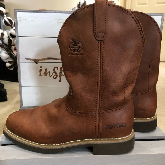 4385b5ec24c MEN'S Brown Farm and ranch leather Wellington boot